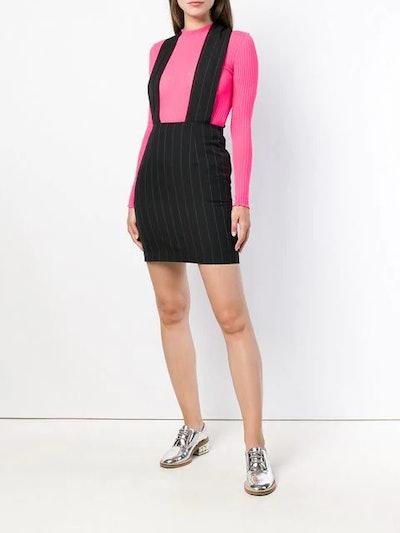 Pinstriped Dungaree Skirt