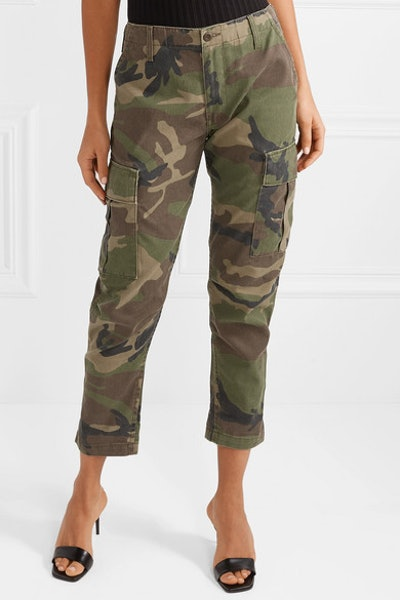 Camouflage-Print Canvas Tapered Pants