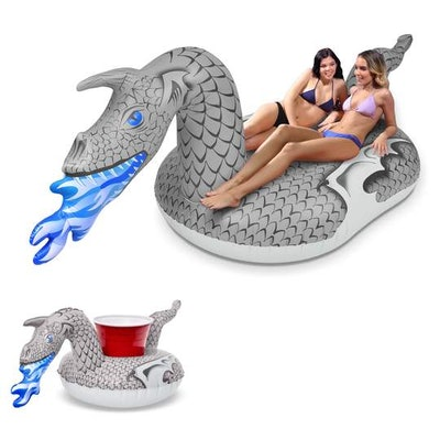 GoFloats Ice Dragon Giant Inflatable Pool Float - Includeds Bonus Drink Holder