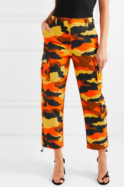 Camouflage-Print Cotton Straight-Leg Pants