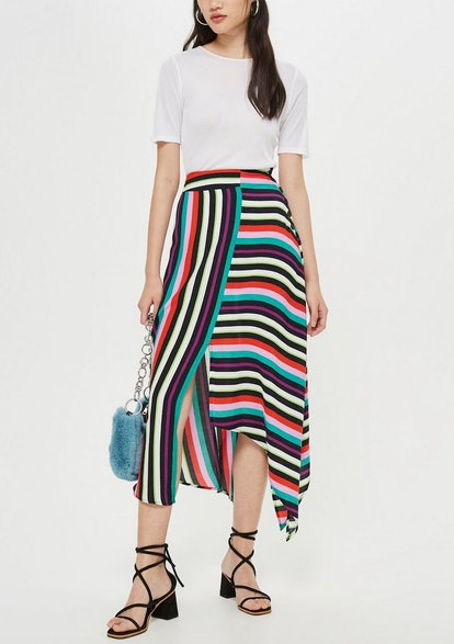 Striped Hanky Hem Midi Skirt