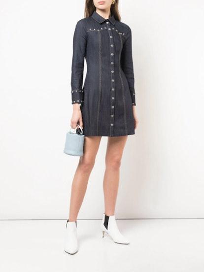 Studded Denim Shirt Dress