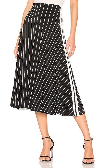 Side Stripe Flared Skirt