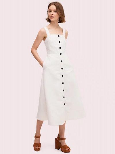 Button Front Midi Dress