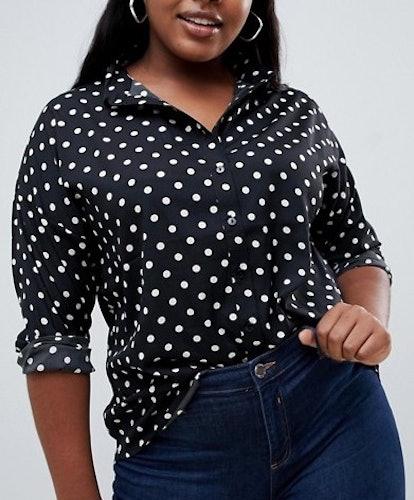 Influence Polka Dot Button Down Shirt