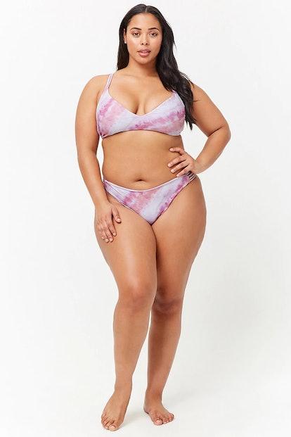 Plus Size Watercolor Twist-Back Bikini Top and Bottoms