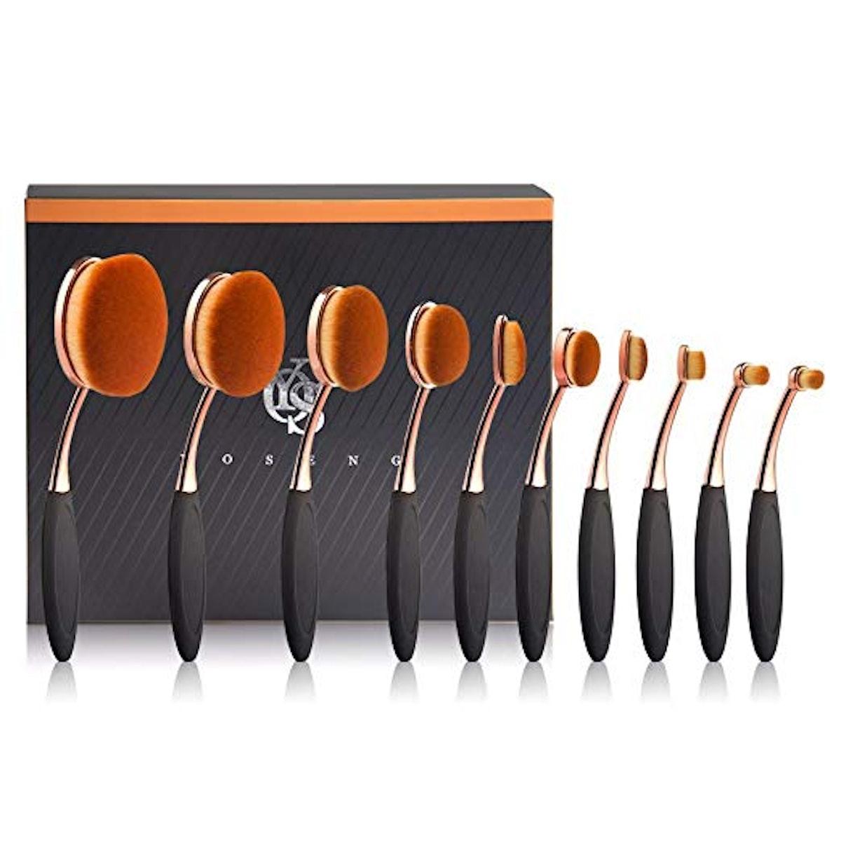 Yoseng 10-Piece Oval Makeup Brush Set