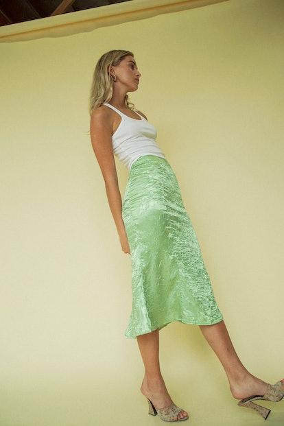Grace Slip Skirt Lime Green