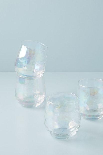 Lustered Stemless Wine Glasses, Set of 4