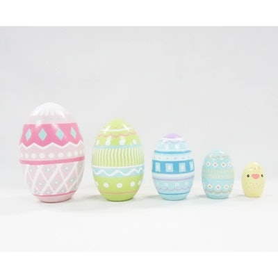 5ct Wood Nesting Easter Eggs Pastel