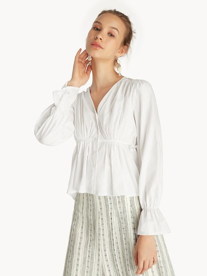 Purpose Front Pleated Blouse - White