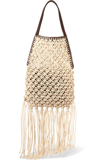 JW Anderson Leather-trimmed fringed macramé tote