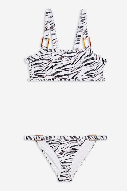 Monochrome Tiger Print Bikini Set