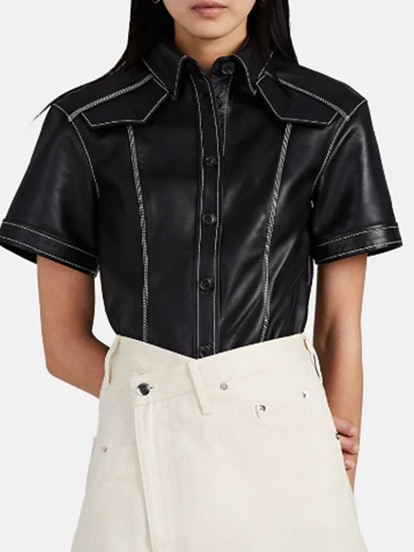 Short Sleeve Leather Top