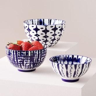 Indigo Tie-Dye Nesting Bowls, Set Of 3