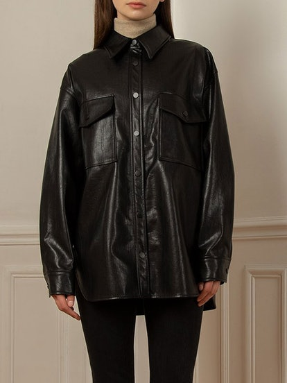 Black Vegan Leather Shirt