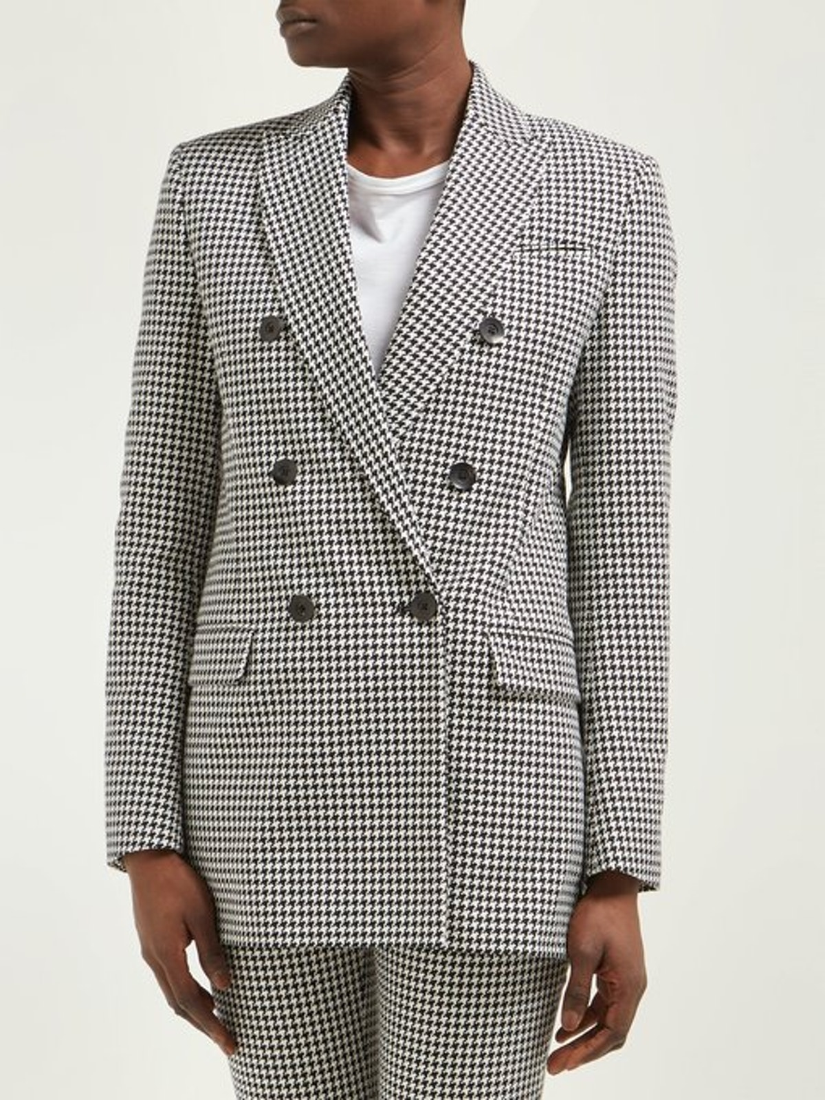 Houndstooth Single-Breasted Cotton Blazer
