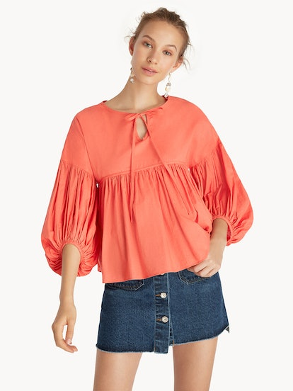 Purpose Babydoll Puff Sleeves Top - Coral Red