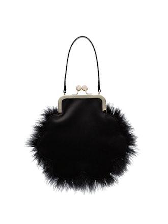 Feather Embellished Silk Satin Bracelet Bag