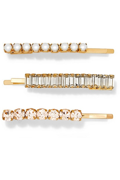 Lelet NY Set of three Lili gold-plated, crystal and faux pearl hair slides