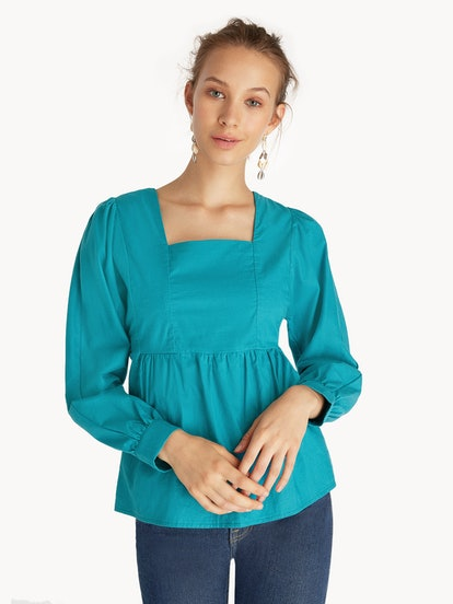 Purpose Tied Open Back Blouse - Teal