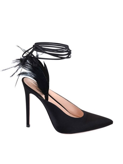 Suede Pumps with Feather Detail