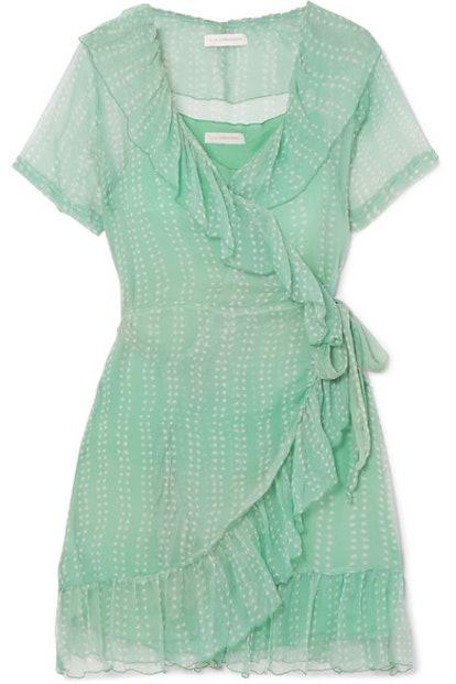 Kimi Printed Silk-Crepon Wrap Mini Dress