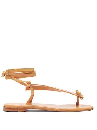 Bibiana Tie-Fastening Flat Leather Sandals
