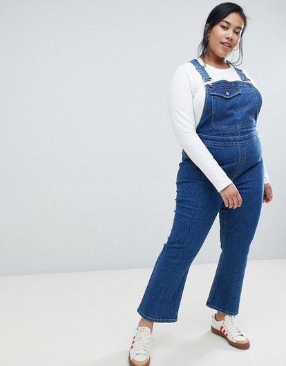 ASOS DESIGN Curve denim overall with kickflare in midwash blue