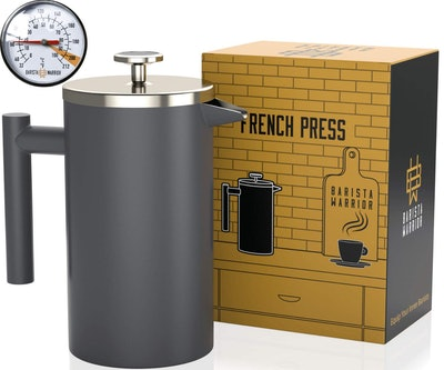Barista Warrior Stainless Steel French Press With Thermometer