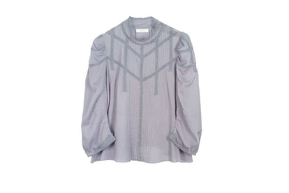 Dôen Albertine lace-trimmed pintucked ramie blouse