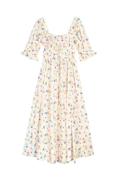 Dôen Sol shirred floral-print Swiss-dot cotton-voile maxi dress