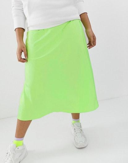 Curve Bias Cut Satin Slip Midi Skirt