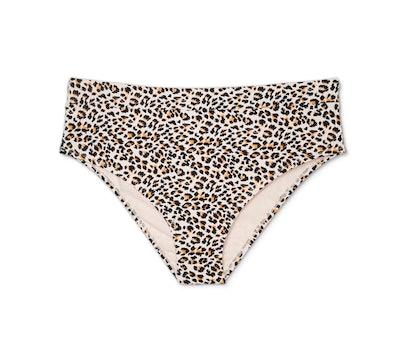 Women's Plus Size Ribbed High Leg High Waist Bikini Bottom