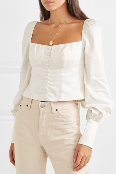 Victorian Button-Embellished Pima Cotton-Sateen Blouse