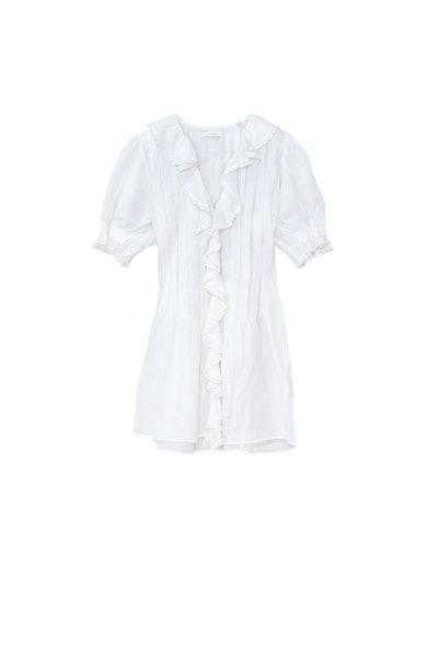 Dôen Piper lace-trimmed ruffled ramie mini dress