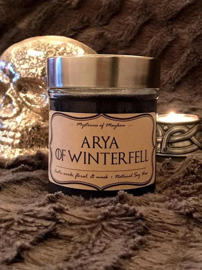 Arya of Winterfell - Exotic Woods, Floral, & Musk Scented - Game of Thrones Inspired - Soy Wax Candle