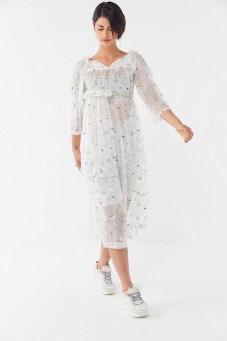 Midsummer Sheer Floral Midi Dress
