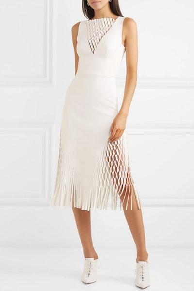 Fringed Cutout Jersey Midi Dress