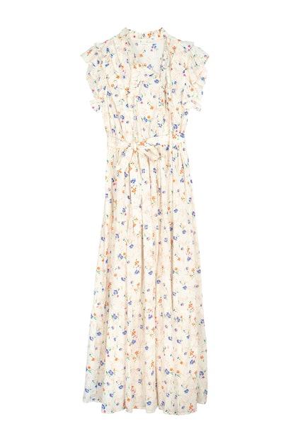 Dôen Carnation ruffled floral-print Swiss-dot cotton-voile maxi dress