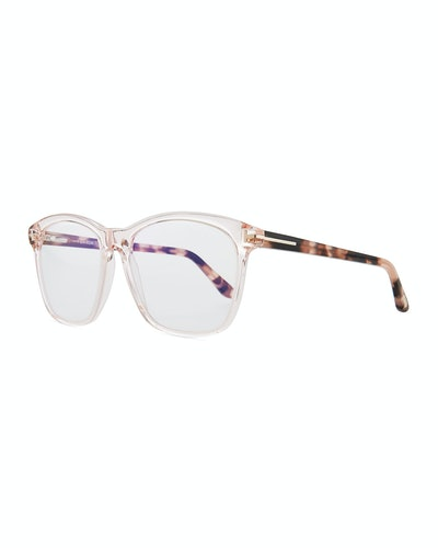 Tom Ford Blue Block Two-Tone Transparent Acetate Square Optical Frames in Pink