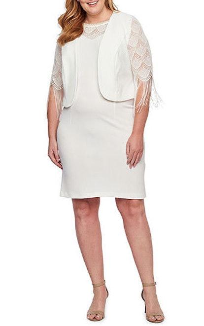 3/4 Fringe Sleeve Jacket Dress