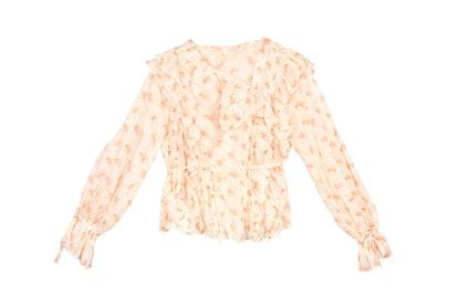 Dôen Luca ruffled floral-print cotton-voile blouse