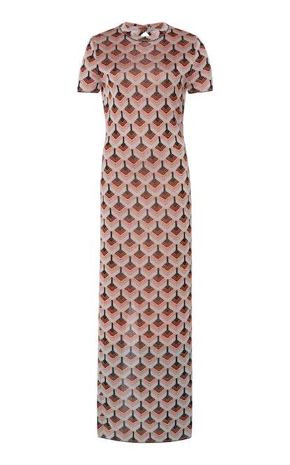 Printed Lurex Maxi Dress