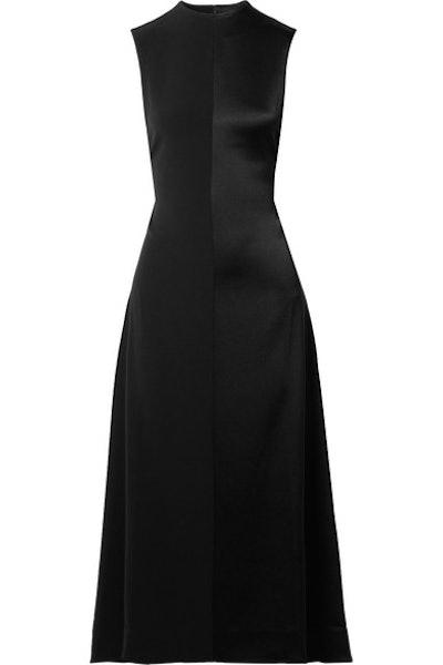 Open-Back Paneled Satin And Crepe Midi Dress