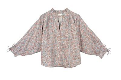 Dôen Rose gathered floral-print cotton-poplin blouse