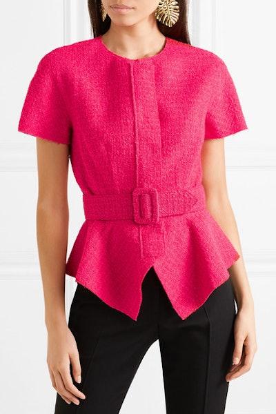 Belted Wool-Blend Tweed Peplum Jacket