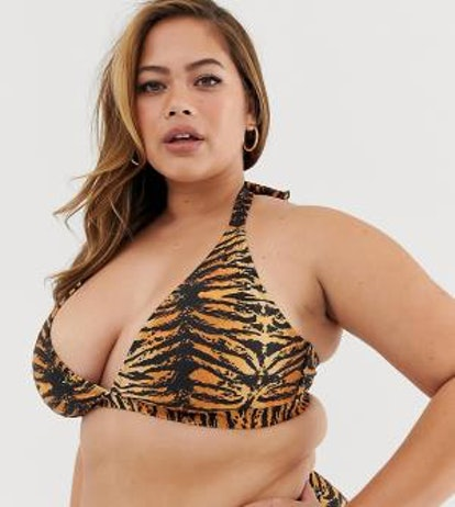 Wolf & Whistle Curve Exclusive Eco triangle bikini top in tiger print