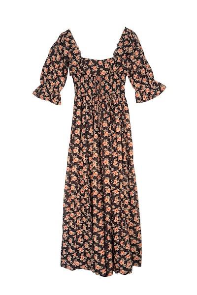 Dôen Sol shirred floral-print cotton-voile maxi dress
