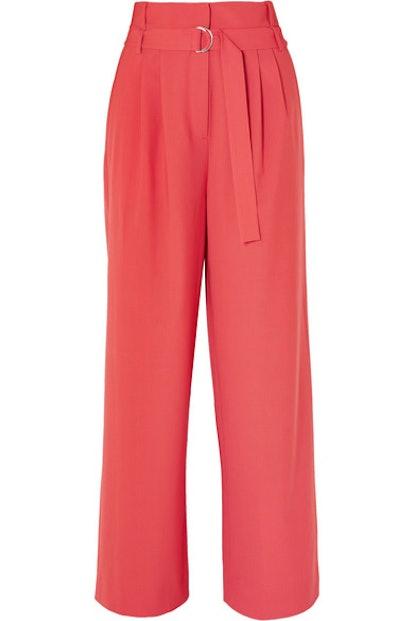 Stella Belted Tropical Wool Pants